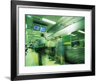 Passengers Boarding Train at Parliament Station in the City of Melbourne, Victoria, Australia-Richard Nebesky-Framed Photographic Print