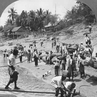 Passengers Embarking on an Irrawaddy Steamer, Mada, Rangoon, Burma, 1908--Photographic Print