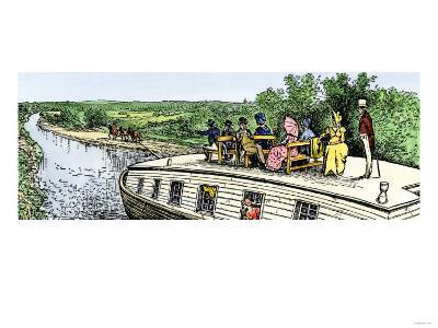 Passengers Enjoying a Cruise on the Erie Canal, 1820s--Giclee Print