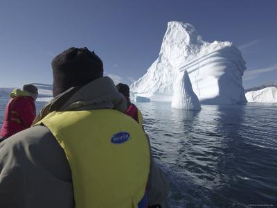 Passengers in a Boat Passing Icebergs, Scoresby Sund, Bjorn Oer, Greenland-Michael Gebicki-Photographic Print