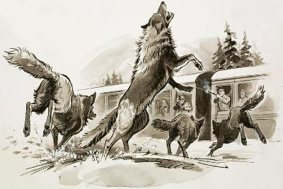 Passengers in a Snowbound Train Fight Off Starving Wolves-Ralph Bruce-Giclee Print