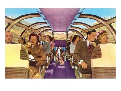 Passengers in Train's Viewing Compartment--Art Print