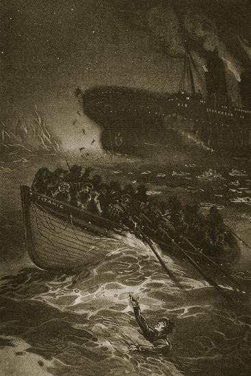 Passengers Leaving the Titanic in the Life-Boats--Giclee Print