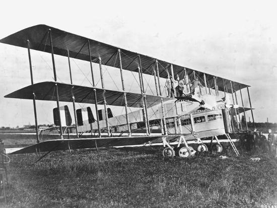 Passengers Standing on Middle Wing of Triplane--Photographic Print