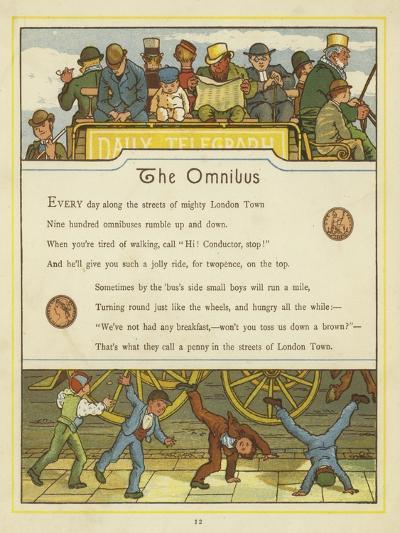 Passengers Travelling on the Omnibus While Children Turn Cartwheels on the Street Below-Thomas Crane-Giclee Print