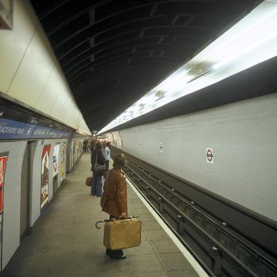 Passengers Waiting at Blackhorse Tube Station on the Victoria Line, London, 1974-Michael Walters-Photographic Print