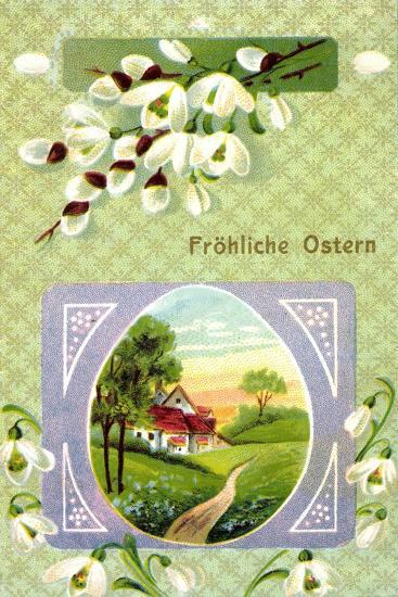 Passepartout Frohe Ostern, Glockenblume, Ort, Ei--Giclee Print