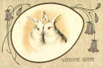 Passepartout Präge Litho Glückliche Ostern, Hasen--Giclee Print