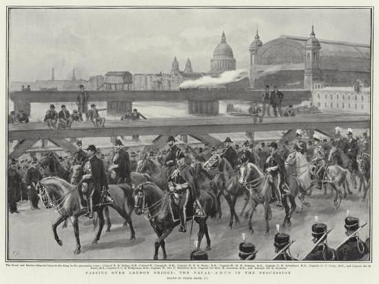 Passing over London Bridge, the Naval Adc's in the Procession-Frank Dadd-Giclee Print