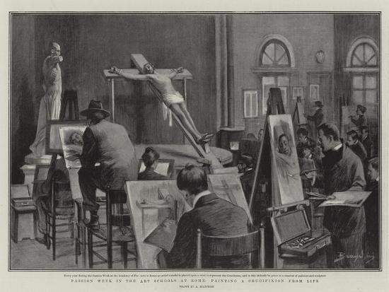 Passion Week in the Art Schools at Rome, Painting a Crucifixion from Life--Giclee Print