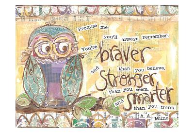 Pastel Owl Family 1 Braver Stronger Smarter-Erin Butson-Art Print