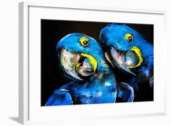 Pastel Painting of a Blue Parrots on a Cardboard. Modern Art-Ivailo Nikolov-Framed Art Print