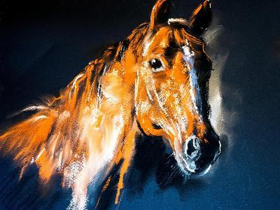 Pastel Portrait of a Brown Horse on a Cardboard. Modern Art-Ivailo Nikolov-Art Print