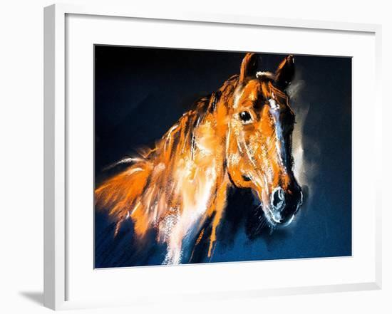 Pastel Portrait of a Brown Horse on a Cardboard. Modern Art-Ivailo Nikolov-Framed Art Print