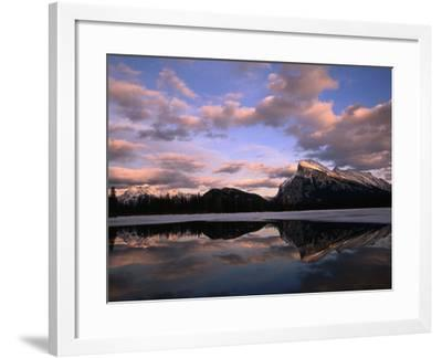 Pastel Shades of Dusk Over Mt. Rundle and Vermilion Lake, Banff National Park, Alberta, Canada-Mark Newman-Framed Photographic Print