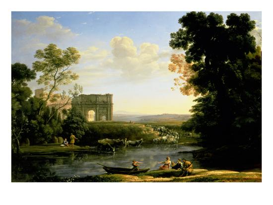 Pastoral Capriccio with the Arch of Constantinople-Claude Lorraine-Giclee Print