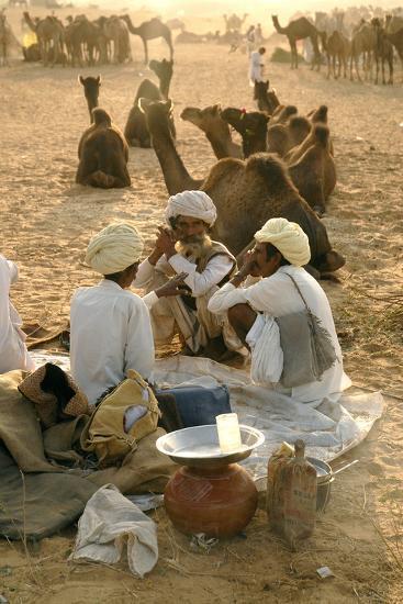 Pastoral Nomads at Annual Pushkar Camel Fair, Rajasthan, Raika, India-David Noyes-Photographic Print