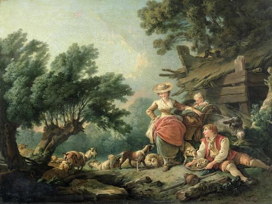 Pastoral Scene-Jean-Baptiste Huet-Giclee Print