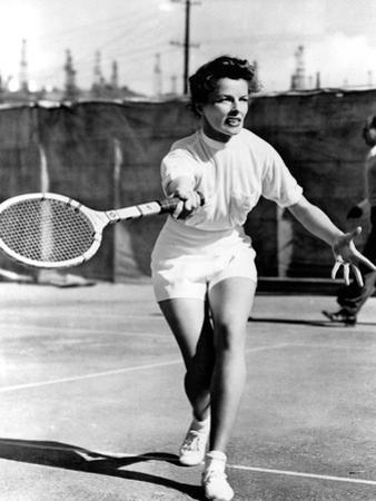 Pat And Mike, Katharine Hepburn Playing Tennis On The Set, 1952