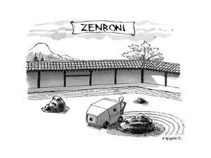 A guy is driving around a zen garden making the lines in the sand. At the ? - New Yorker Cartoon by Pat Byrnes