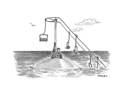 Climate change ski lift. - Cartoon