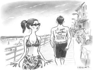 "( ""I got Hepatitis at Randy's Tattoo Parlor."") - New Yorker Cartoon by Pat Byrnes"