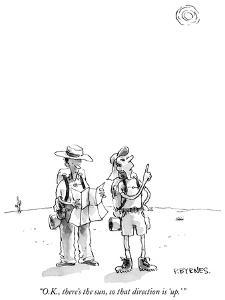 """""""O.K., there's the sun, so that direction is 'up.' """" - New Yorker Cartoon by Pat Byrnes"""