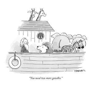"""""""You need two more gazelles."""" - New Yorker Cartoon by Pat Byrnes"""