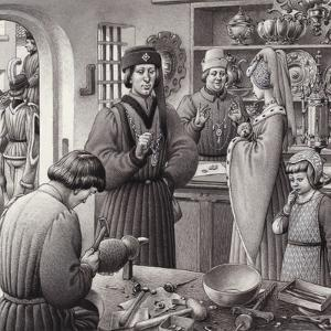 A Goldsmith's Shop in 15th Century Italy by Pat Nicolle