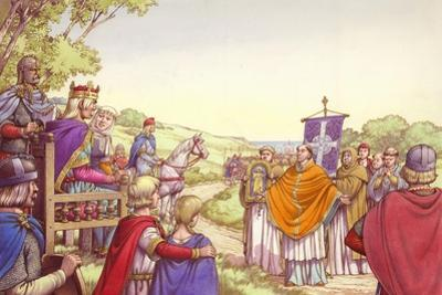 Augustine Facing King Ethelbert and His Queen, Bertha