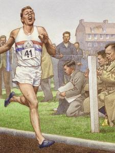 Roger Bannister Running the First Four-Minute Mile by Pat Nicolle