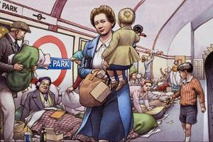 The Underground During the Blitz by Pat Nicolle