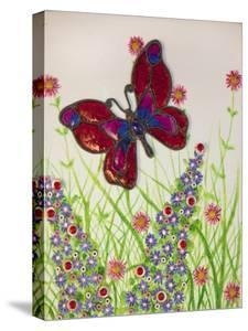Butterflies, Red, Purple and Blue, 2016 by Pat Scott