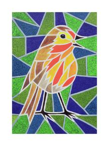 Robin on Stained Glass by Pat Scott