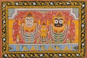 Patachitra Depicting Jagannath, Orissa, Mid 20th Century