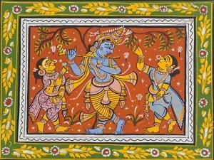 Patachitra Depicting Krishna with Gopis in the Rasa Dance, Orissa, Mid 20th Century