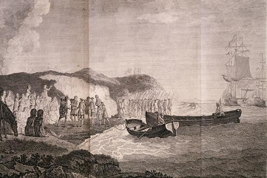 Patagonians Welcoming Commander Byron, Engraving by Robert De Launay, from Cook Atlas, 1784--Giclee Print