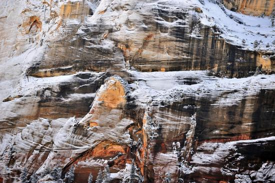 Patches of Snow Clinging to a Rock Face at Sunrise in Zion National Park-Keith Ladzinski-Photographic Print