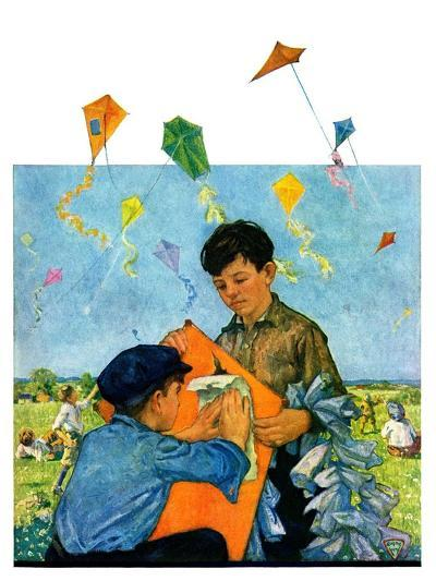 """Patching a Kite,""September 15, 1928-Eugene Iverd-Giclee Print"