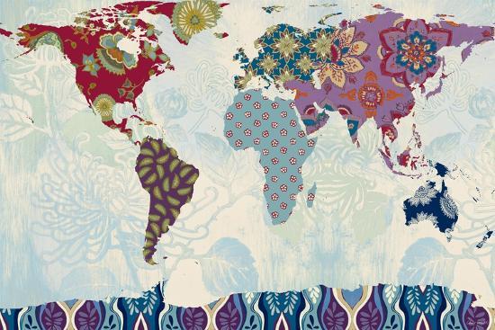 Patchwork World Map-Lanie Loreth-Art Print