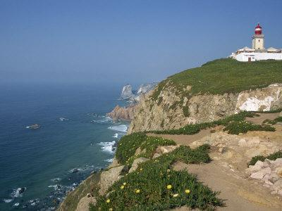 Lighthouse and Coast at Cabo Da Roca, the Most Westerly Point of Continental Europe, Portugal