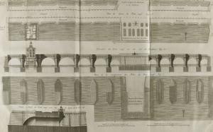 Planche 160 : Plan , élévation et élévation du Pont-Neuf à Paris by Pate
