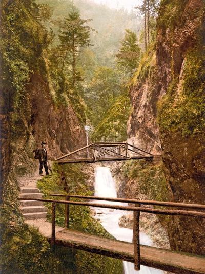 Path and Bridge in the Almbach Gorge in Berchtesgaden, Bavaria, 1890-1900--Photographic Print