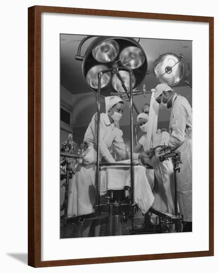 Patient Being Treated in Hospital Facilities at Kaiser's Permanente Foundation-J. R. Eyerman-Framed Photographic Print