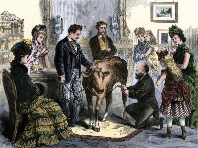Patients Vaccinated Against Smallpox with Live Virus From a Calf, 1872--Giclee Print