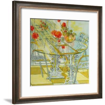 Patio Garden,Geraniums Reflected, 2010-Joan Thewsey-Framed Giclee Print