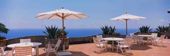 Patio Umbrellas in a Cafe, Positano, Amalfi Coast, Salerno, Campania, Italy--Photographic Print