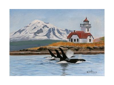 Patos Lighthouse and Orcas-Julie Peterson-Art Print