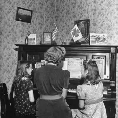 Patricia Colleen Altree Playing the Piano with Her Two Sisters-J^ R^ Eyerman-Photographic Print