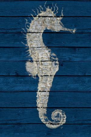 Antique Seahorse on Blue I